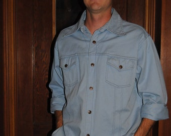 Vintage 1970's Denim Shirt with Metal Snap Buttons
