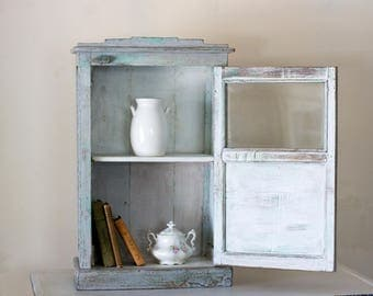 Vintage French Blue Cupboard with glass insert door, Kitchen and Bath Storage, Nursery Storage
