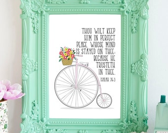 Bible Verse Print, Scripture Art Download, Bicycle Art Instant Download, 8 x 10 Digital Print, Isaiah 26:3, Perfect Peace, Peace King James