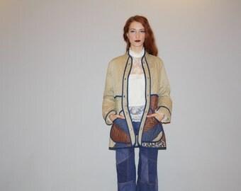 1970s Patchwork Quilted Hippie Coat Quilt Prairie Floral Jacket  - Vintage 70s Coats - Vintage 70s Jacket - WO0713