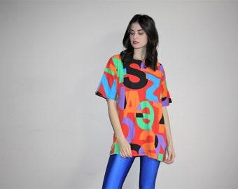 Vintage 90s Graphic Hip Hop Neon Colorblock rainbow Oversized T Shirt  -  1990s Vintage Tees  -  Vintage T-Shirts  - W00639
