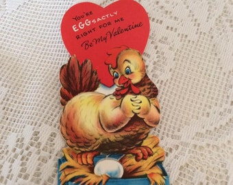Vintage 1950s Valentine Card Chicken Hen With Egg Collectible Paper Ephemera Arts Crafts Scrap Booking