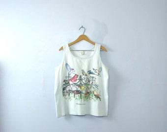 Vintage 90's birds tank top, sleeveless shirt, women's size large