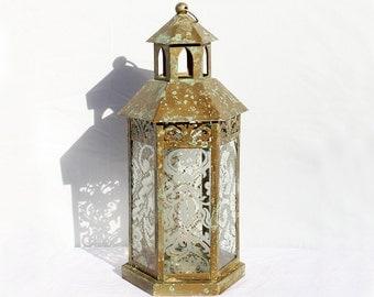 Romantic Glass Lantern, Glass Lantern, Gold Lantern, Glass Hurricane, Gold Hurricane, Glass Candle Holder, Wedding Lantern Centerpiece