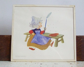 Antique print Dutch girl hand framed printed in Belgium 1930s print cute as can be