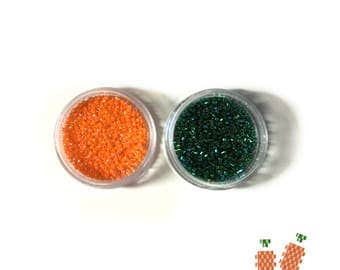 Miyuki Delica Beads 11/0 for Mini Carrot Pattern, DB0175 Green, DB1573 Orange, 1 gram