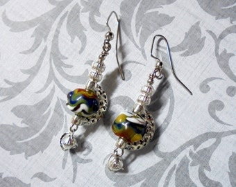 Olive Green, Blue, White, Red, Yellow and Brown Boho Earrings (3335)