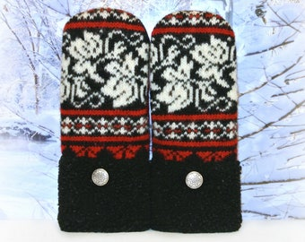 Norwegian Mittens ~ Black, White & Red 100% Felted Wool Recycled Sweater Mittens