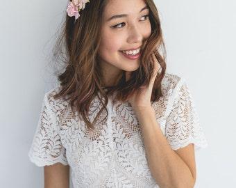 pastel romantic rose headband // creamy flower crown / flower headband / neutral flower crown / pink flower headband / rose headband / rose