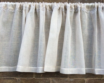 Natural Linen Lace Valance, Sheer Beige Kitchen Curtain, Cantonniere, Window Topper, Bedroom Decor