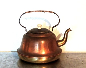 vintage copper teapot - 1940s-50s Benmeta Terborg mid century copper kettle made in Holland