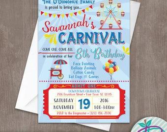 Carnival Invitation, Carnival Birthday Invitation, Carnival Birthday Party Printable Invite