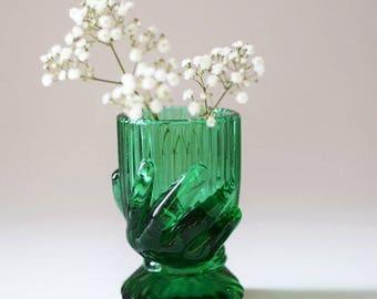 Vintage Green Glass Salt Cellar Egg Cup Beggars Hand Vallerystal Pontrieux  France