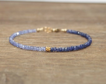 Tanzanite & Sapphire Bracelet, Sapphire Jewelry, September Birthstone, Gemstone Bracelet