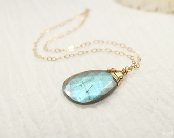 Labradorite Necklace, Wire Wrap Pendant, Gemstone Necklace, Gold Filled, Labradorite Jewelry,