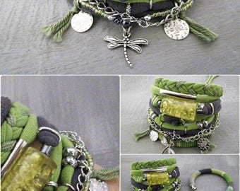 Green Gray Bohemian Bracelet, Lime Green Boho Bracelet Set, Hippie Jewelry Resin Bead Fabric Bracelet Dragonfly Charm Gypsy Bracelet
