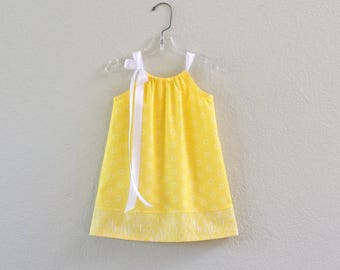 New! Girls' Yellow Pillowcase Dress - Lemon Yellow with White Circles - Little Girls Sun Dress - Size 12m, 18m, 2T, 3T,4, 5, 6, 8 or 10
