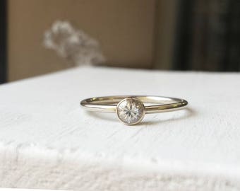 Simple White Sapphire or Moissanite Engagement Ring - 14kt White Gold - Minimalist - Solitare