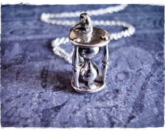Large Silver Hourglass Necklace - Sterling Silver Hourglass Charm on a Delicate Sterling Silver Cable Chain or Charm Only