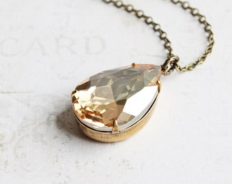 Large Champagne Rhinestone Teardrop Pendant Necklace on Antiqued Brass Chain (25mm)