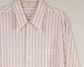 50s 60s vintage Haband dress Shirt white and pink striped pointed collar long sleeve shirt 16.5 33