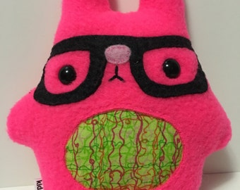 Nerdy Easter Bunny Rabbit Hot Neon Fluorescent Pink Plush Plushie with Glasses Nerd Geek Geeky