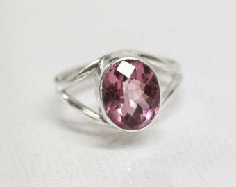 Pink Cherry Quartz Faceted Stone Ring, Size 7.5 Handcrafted