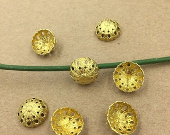 Wholesale 200 Bead Caps Raw Brass/ Bronzed/ Silver Plated Filigree Dome 12mm Round- Z8858