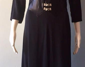 Beautiful 1940s Crepe Black Dress