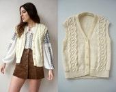 70's Vintage Hand Knitted Cream Aran Waistcoat