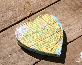 Miami, Florida - Vintage Map Covered Heart Ornament - FL, Home Decor, East Coast, 3 Dimensional, Christmas, Tree, City