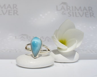 Larimar ring size 5.5 by Larimarandsilver, Tear of the Night - abyss blue Larimar pear, turtleback, japan size 10, handcrafted Larimar ring