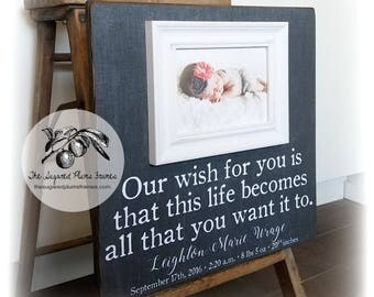 Personalized Baby Picture Frame, Birth Announcement, Baby Gift, New Baby Gift, Baby Name, Birth Stats, 16x16 The Sugared Plums Frames