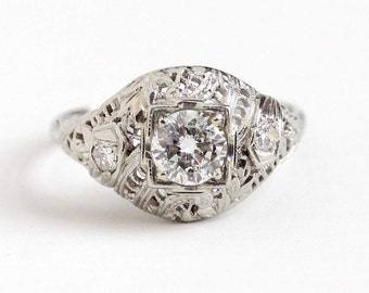 Antique 18k White Gold Art Deco .66 CTW Diamond Ring - Size 7 1/4 1920s Vintage Filigree Fine Engagement Bridal Wedding Jewelry Appraisal