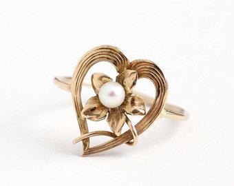 Sale - Antique Art Nouveau 10k Rose Gold Flower Heart Ring- Vintage 1900s Victorian Edwardian Stick Pin Conversion Fine Floral Pearl Jewelry