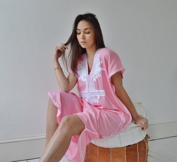 Pink with White Marrakech Resort Caftan Kaftan -beach cover ups, resortwear,loungewear, maxi dresses, birthd