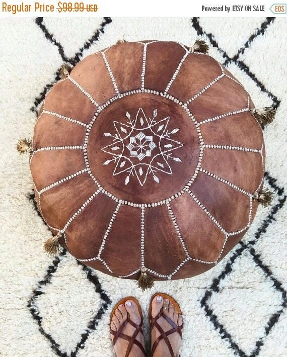 SPRING 30% OFF SALE /// Tan Brown Moroccan Leather Pouf with Tassels & Pompoms >> for Home gifts, wedding gifts, anniversary gifts, foot sto