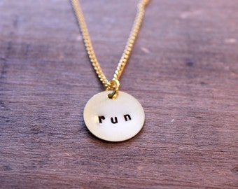 Running Charm Necklace Hand Stamped Personalized Brass Round: Sports