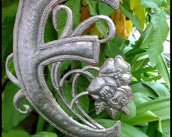 "Garden Decor Metal Art, Metal Letter, Initial, Monogram, Garden Plant Stake, Haitian Recycled Steel Drum, Choose your letter - 15"" - PS-1500"
