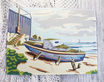 Paint by Numbers Boat, Beach Scene, Vintage Painting, PBN, Fishing Painting