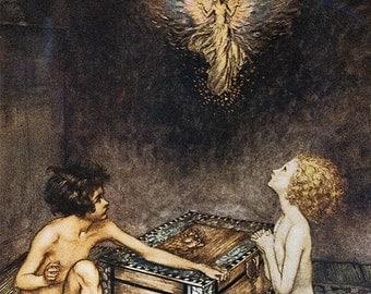 Pandora & Epimetheus,  Arthur Rackham, Vinatge Art Print