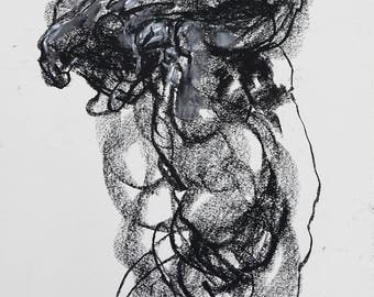 """Gestural and Abstract Male Nude - Figure 4 - 9 x 12"""" charcoal and pastel on paper - original drawing by Derek Overfield"""