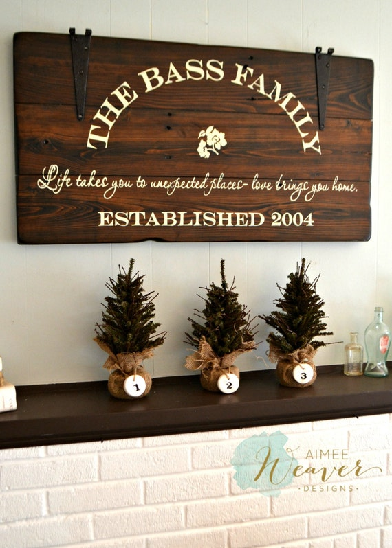 Family Sign Personalized Sign Established Sign Rustic