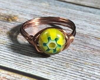yellow / green glass Millefiori Ring - antique copper wire wrapped , size 7 1/2 , 7.5  - women men unisex , handmade jewelry , flower hippie
