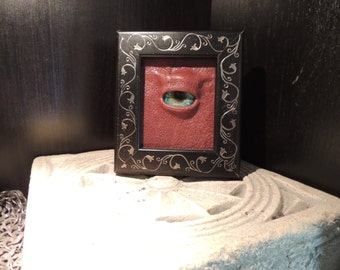The Watcher: Mini framed Green Dragon eye with Rust  leather