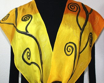 Yellow, Terracotta Hand Painted Silk Scarf HONEY TREE, in 4 SIZES. Birthday Gift, Bridesmaid Gift. Valentine Gift. Silk Scarves Colorado.