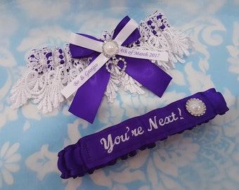 Purple Personalised heart Wedding Garter set - heart and pearl purple satin and Venise Lace - monogrammed garter - you're next garter