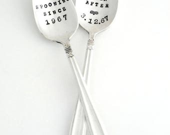 Hand Stamped Wedding Spoons. Coffee Lovers Gift. Anniversary Gift. Custom Personalized Vintage Teaspoons. Pair of Stamped Spoons. ORIGINAL