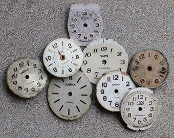 Small Vintage Watch Faces - set of 8 -- D7