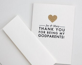 THANK YOU for being my Godparents! / Custom name / card with gold glittered heart appliqué / godparents card / thank you godparents / custom